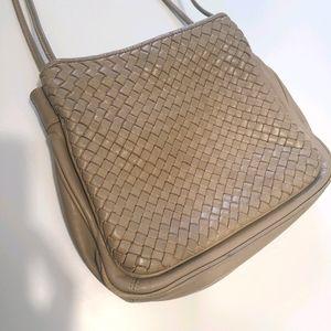 Vintage Taupe Woven Leather Brio Purse (Bottega)